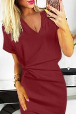 Kırmızı V Yaka Kesme Ters Plise Bodycon Elbise