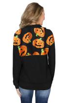1 / 4 Zip Halloween Pumpkin Pullover hosszú ujjú pulóver