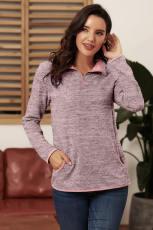 Sweat-shirt zippé avec quartier rose