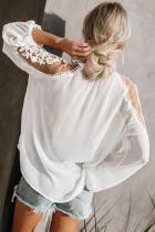 Beyaz Resmi Davetiye Dantel Bluz