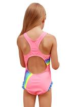 Lucu Rainbow Potong Pink Baby Girls One Piece Swimsuit