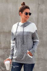 هوديي بلوك بلوز رمادي اللون مع جيب