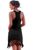 Černá plážový dlouhý košil s třpytem