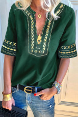 Green Boho دوزی V گردن گاه به گاه بالا
