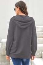 Sweat à capuche gris à manches longues avec cordon de serrage
