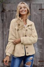 Khaki Sherpa Button Up 긴 소매 자켓