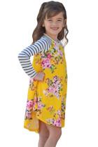 子供のための黄色の春のフレギングフローラルストライプ柄のスリーブの短いドレス