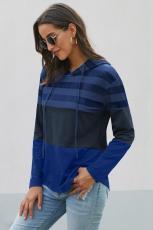 Kék színű tömbhúzós kapucnis pulcsi