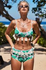 Tassel High Waist Bikini Print Tassel Bikini