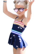 Rainbow Stripes Cetak Peplum Little Girls Swimsuit