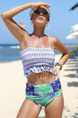 Blue High Waist Printed Smocked Bikini