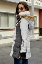 Grå polstret jakke for kvinner
