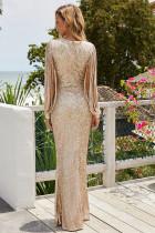 Partiya Yekîtiya Sefîrê Fringe Sleeve Maxi Evening Dress