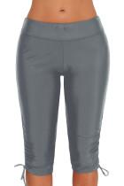 Grå Plus Size Ruched Side Tie Swim Bottom Shorts
