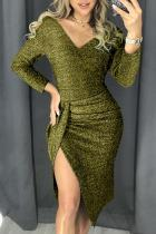 Green Glitter Ruched Thigh Slit Dress Metallic Party