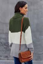 Kulîlkek rengê kesk a Turtleneck Pullover Sweater
