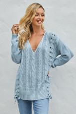 Sznurowany sweter w kolorze kruczego błękitu Love Letters
