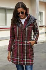 Brun Vintage Pledd bomullsvattert Trenchcoat
