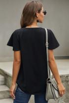 T-shirt manica corta scollo a V nero