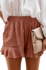 Ruosteenpunainen korkea vyötärö taskut röyhelö shortsit