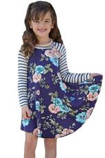 Blue Spring Fling Květinové pruhované rukávové krátké šaty pro děti