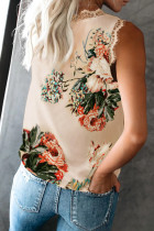 Aprikos V Neck Lace Trim Floral Tank