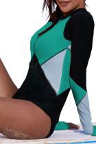 Yeşil Zip Up Yaka Renk Bloğu Rashguard Üst