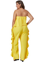 Combinaison-pantalon jaune à volants Prime Dreams Plus Size