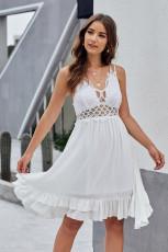 Λευκό φόρεμα φόρεμα με δαντέλα