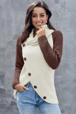 Brun knapp Turtle Cowl Neck asymmetrisk Hem Wrap Pullover-genser