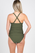 Grüner schwangerer Push-Up gepolsterter BH Beach Bikini Set