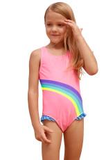 Cute Rainbow Trim Pink Baby Girls One Piece Badedragt