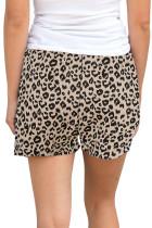 Khaki Leopard tulosta kiristysnauha vyötäröhousut