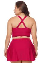 Röd trådlös plusstorlek Bikini Top och Swim Skirt Set