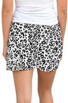 White Leopard Print Drawstring Midje Shorts