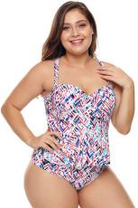 Bikini taille plus Peplum moulé à imprimé chaotique