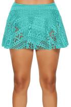 Bas de bikini avec jupe en dentelle au crochet vert