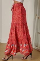 Czerwona spódnica maxi z kwiecistym wzorem w talii z wysokim stanem i kwiecistym wzorem w Boho