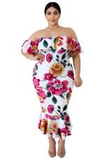 Bílé Off-the-rameno Květinová mořská víla velikost šaty