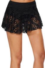 블랙 크로 셰 뜨개질 레이스 Skirted Bikini Bottom