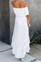 Valkoinen lasite korkealla alhaalla olkapää Maxi-mekko