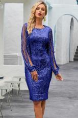 Blue Sequin Tassel Sleeve Bodycon Evening Dress