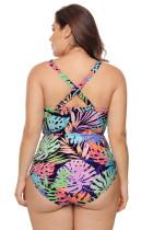 Färgglada Tropiska Jungle Crisscross Plunge V Neck Plus Maillot Badkläder