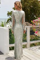 Partiya Sequin Fringe Sleeve Party Maxi Evening Dress