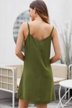 Yeşil Düğmeli Kayma Elbise