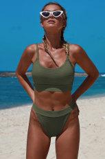 Zöld kétrészes kötött texturált növényi bikini szett