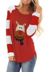 Top manica manica color block renna cartone animato di Natale