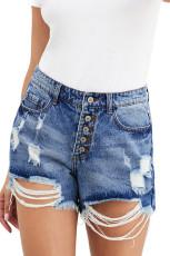 Himmelsblå Hot Mama High Rise Distressed Denim Shorts