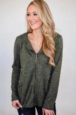 Green Hooded Zipper Cardigan Coat