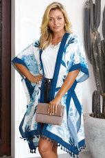Blue Bohemian Print Open Front Loose Kimono Beach Cover up